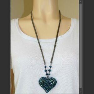 Long Heart Gem Rhinestone Blue Green Necklace